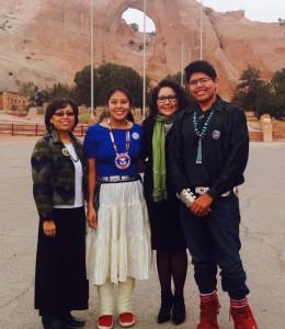 Denisa with Navajo Preparatory School teacher and students