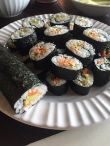 Smoked salmon sushi prepared by Igiugig High School students.