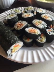 Smoked salmon sushi prepared by Igiugig High School students.