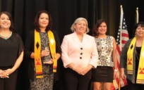First Nations' staff members accept the Legacy Award. From left are Kendall Tallmadge, Tawny Wilson, Marsha Whiting, Montoya Whiteman and Yadira Rivera