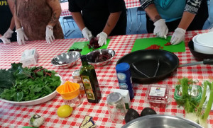 Roasted beet salad is prepared as part of a hands-on cooking activity for Head Start parents participating the Bishop Paiute Tribe's Food Sovereignty Program nutrition education classes.