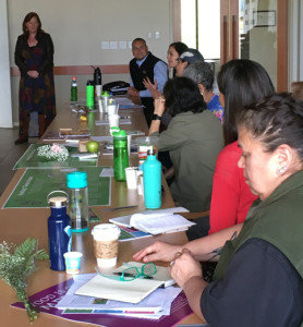 Presenters Fiona Deveraux (left) and Dr. Gary Ferguson (seated) listen intently as participants share their experiences teaching about healthy food traditions in tribal communities.