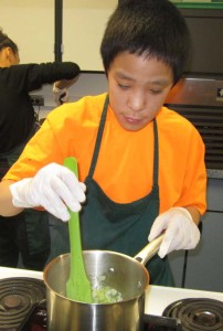 "Iñupiat youth learn cooking and nutrition skills as part of the ""Healthy Futures Program"" at the Iḷisaġvik College in Barrow, Alaska"
