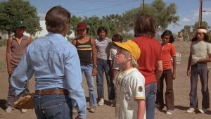 "Filming of ""The Bad News Bears in Breaking Training"" in El Paso, Texas, in 1976. George Torres is pictured second from left, facing camera."