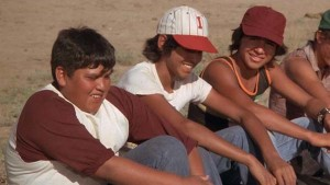 Native teen extras share an on-screen laugh at the expense of the Bad News Bears (left to right are George Lester, Ronnie Thomas and George Torres)