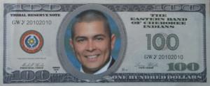 Original $pending Frenzy play money featuring EBCI Principal Chief Michell Hicks