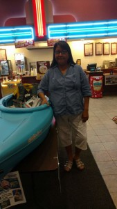 The Ho-Chunk Health Department donated a kayak for the kickoff of the Ho-Chunk Nation Food Sovereignty Initiative, and Gladys M. was the winner of the kayak raffle