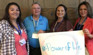 Jennifer Young Bear, second from right, at the Power of We Conference. Others are (left) Elizabeth Rice and John Breuninger of Woodland Indian Art, Inc., and (far right) Tessa James with the College of Menominee Nation