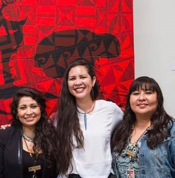 Left to right are Monique Fragua, IPCC Museum Director and now Vice President of Operations; Marla Allison of Laguna Pueblo, featured artist for the IPCC Artist Circle Gallery; and Bianca Mitchell, IPCC Development Director
