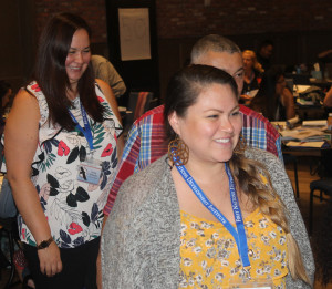 Nicole Sieminski, left, of the Tulalip Foundation at the Power of We training
