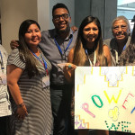 Left to right at the Power of We training are Regis Pecos of the Santa Fe Indian School Leadership Institute (SFIS), Bianca Mitchell of IPCC, Carnell Chosa, Chasity Salvador and Diane Reyna of SFIS, and Corrine Sanchez of Tewa Women United