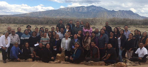 Participants of the Santa Fe Indian School Leadership Institute's Community Institute on Art and Creativity held at the Hyatt Regency Tamaya, owned and on the land of the Pueblo of Santa Ana, in early April 2017
