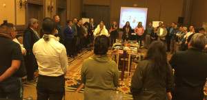 Participants of the Santa Fe Indian School Leadership Institute's Community Institute on Art and Creativity at the opening interactive activity facilitated by Diane Reyna of Taos Pueblo