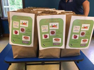 """Iawekon Nutrition for Kids"" program food bags ready to distribute to the youth at the Akwesasne Boys & Girls Club."
