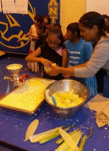 Students from the Moencopi Day School create some of the recipes they learned.