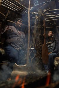 Photo of Sammy Gensaw (Yurok) with Danielle Hill (Mashpee Wampanoag), by Taylor Rees.