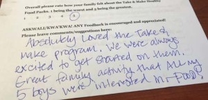 Feedback from a parent about the project.