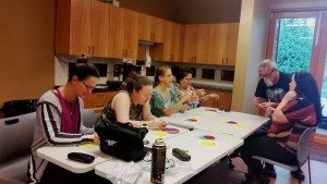 A Beading Workshop intensely focuses the attention of participants.