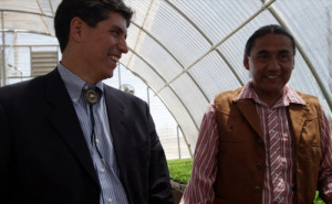 Mike with Harley Coriz at Santo Domingo Pueblo in 2013.