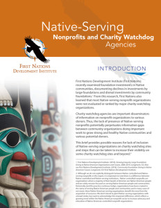 Native-Serving Nonprofits and Charity Watchdog Agencies