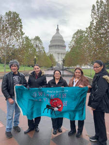 Gwich'in Steering Committee delegates in Washington D.C. Left to right are Steve Frank, Bernadette Demientieff, Kathy Tritt, Lillian Horace and Tiliisia Sisto.