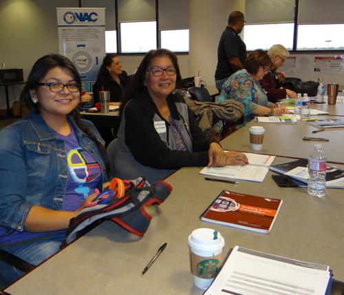 Alexandria Harjo and Dorna Battese with the Pawnee Nation of Oklahoma.