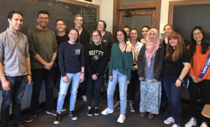 "Jordan Dresser (second from left, in green shirt), the producer of ""What Was Ours,"" visits with students at CU-Boulder and discusses the importance of Native filmmakers controlling their own narratives."
