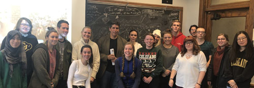 """First Nations President Michael Roberts (center, in black shirt) with students from the course """"English 3377: Native Americans and Film."""""""