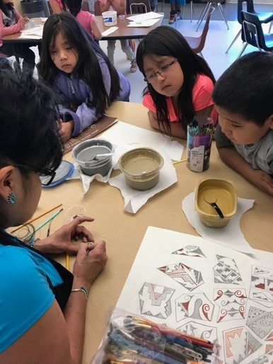 Beyond sports, the park provides a gathering place for summer camps and youth-enrichment activities. Most importantly, it creates a space for art to be passed down and for Zuni children to learn about their culture and traditions. Here, kids learn Native design that will be featured on murals, pottery and signage throughout the community center.