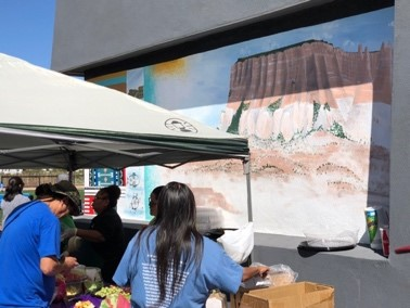 The perimeter of the Ho'n A:wan Park and Community Center provides for an ever-evolving canvas. The Artists Committee played an integral role in not only sourcing the perimeter wall, but also ensuring it would be a vehicle to display and share Zuni art.