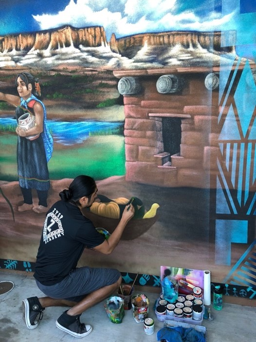 Indoors and outdoors, 11 murals showcase the skills of local artist while illustrating Zuni cultures and traditions. Having this ongoing spotlight on their work ensures that art is always valued and Zuni lifeways are being passed along to next generations.