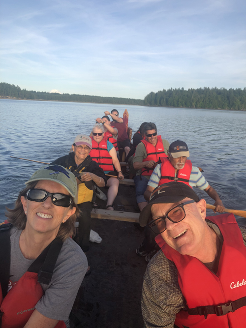 our intrepid travelers partake in a traditional Squaxin canoe ride led by Chris Sigo.