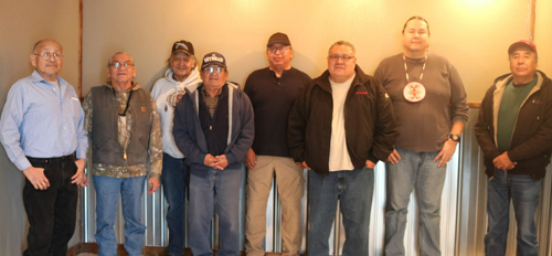 Executive Director Phil Two Eagle (third from right) with the Sicangu Lakota Treaty Council, whose members represent Sicangu Lakota Oyate as part of the Oceti Sakowin Lakota, Nakota and Dakota Tribes in the area.