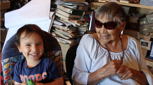 94-year-old Maxine and 3-year-old Chaské Turning Heart represent the oldest and the youngest Yuchi speakers.
