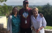 Catalysts for change: Emily Bateson, director of the Network for Landscape Conservation, poses with Loren BirdRattler, project manager for the Blackfeet Tribe's Agriculture Resource Management Plan, and Beth Connover, coordinating committee member of the Network for Landscape Conservation.