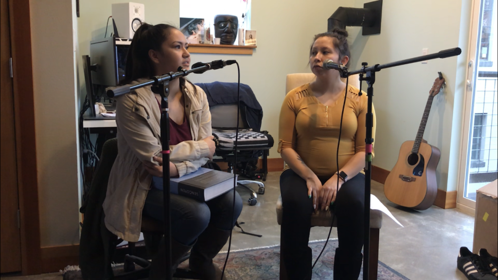 Michelle Polasky and Isabella James discuss current events at Lummi for the pilot episode.