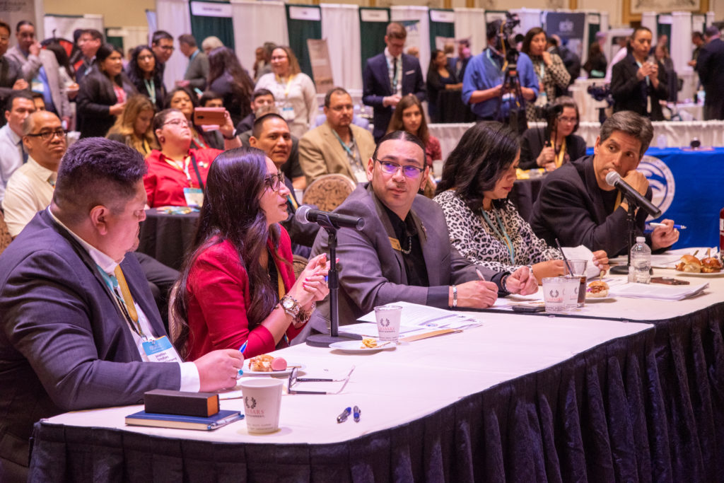 Participants presented their ideas before a panel of Native leaders and entrepreneurs. Photo credit: NCAIED
